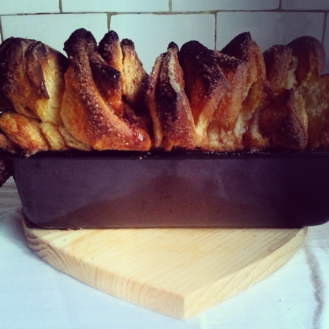 The cinnamon, the pull-apart and the bread.